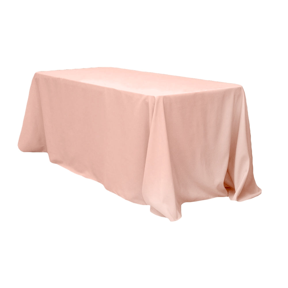 "90""x132"" Rectangular Oblong Polyester Tablecloth - Blush/Rose Gold"