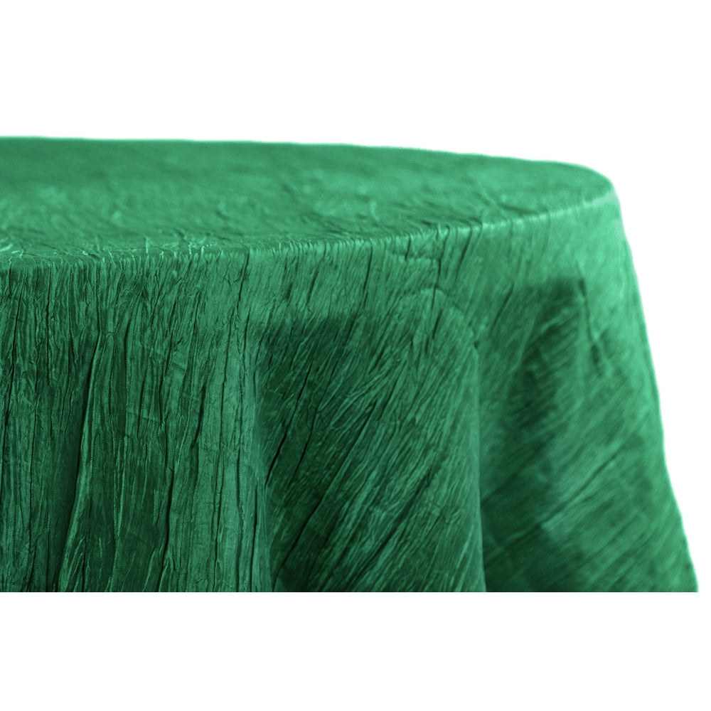 "Accordion Crinkle Taffeta 132"" Round Tablecloth - Emerald Green"