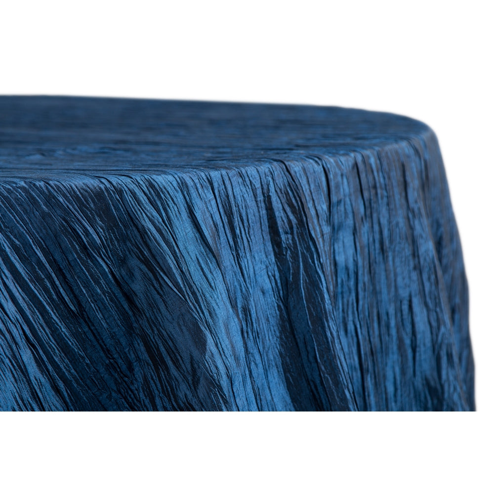 "Accordion Crinkle Taffeta 120"" Round Tablecloth - Navy Blue"