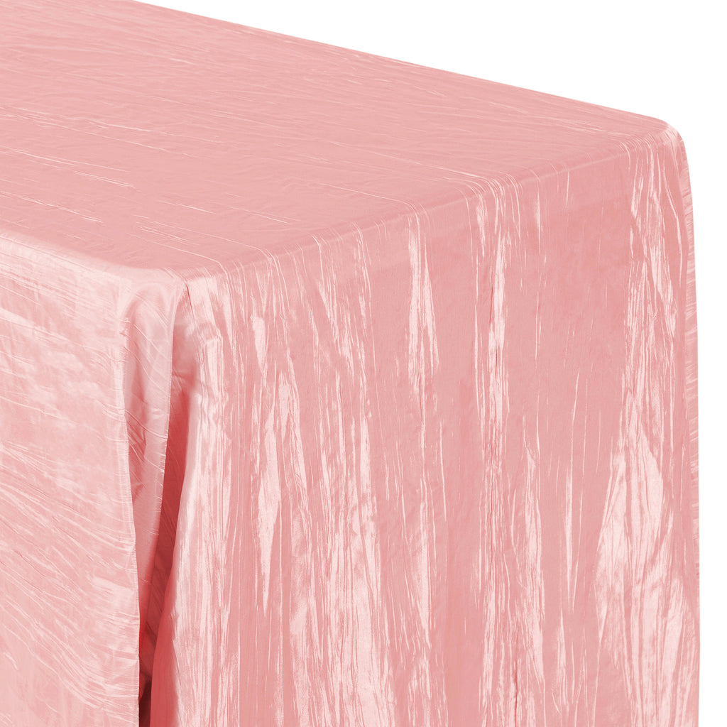 "Accordion Crinkle Taffeta 90""x132"" Rectangular Tablecloth - Dusty Rose/Mauve"