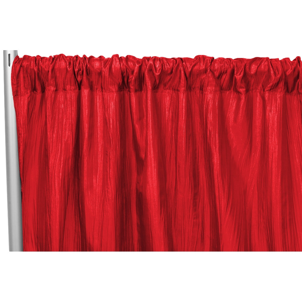 "Accordion Crinkle Taffeta 8ft H x 54"" W Drape/Backdrop Panel - Red"