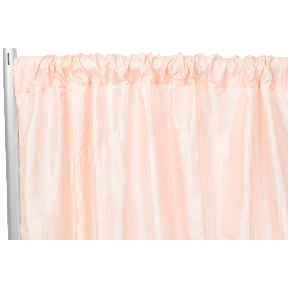 "Accordion Crinkle Taffeta 10ft H x 54"" W Drape/Backdrop Panel - Blush/Rose Gold"
