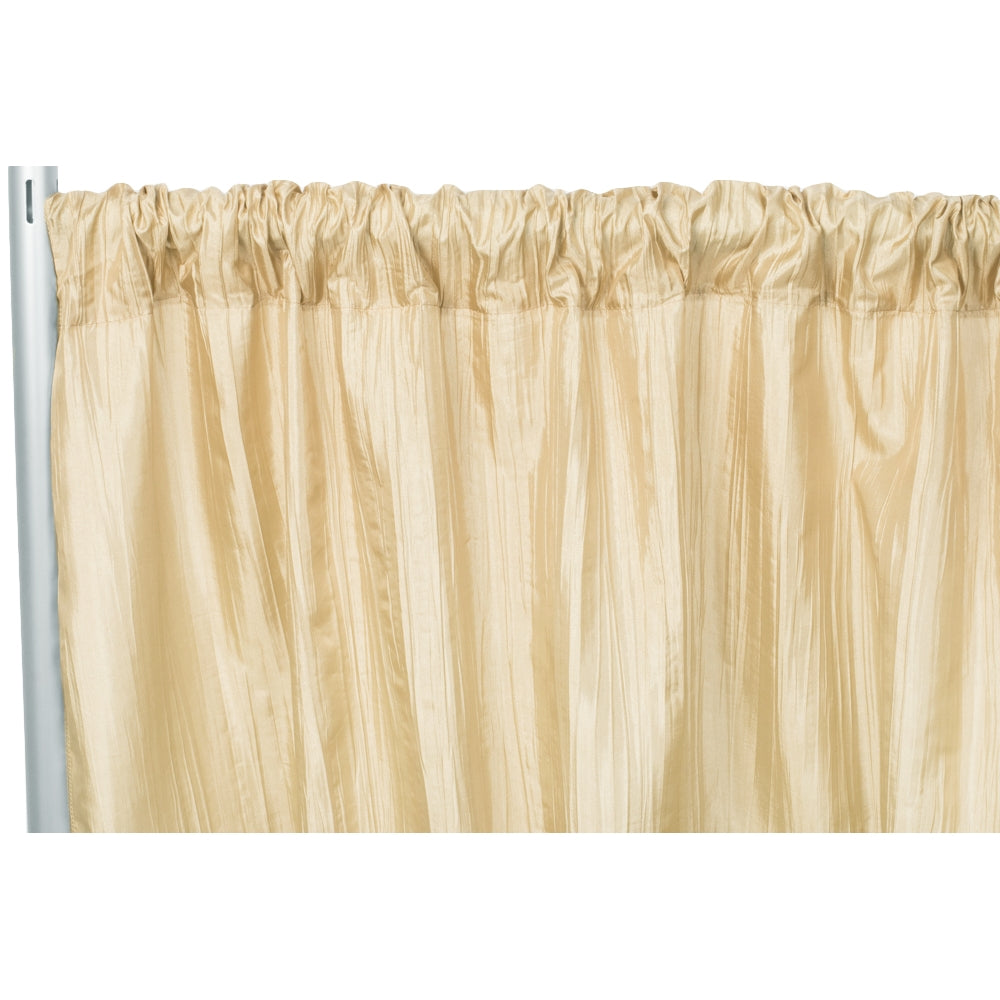 "Accordion Crinkle Taffeta 10ft H x 54"" W Drape/Backdrop Panel - Champagne"