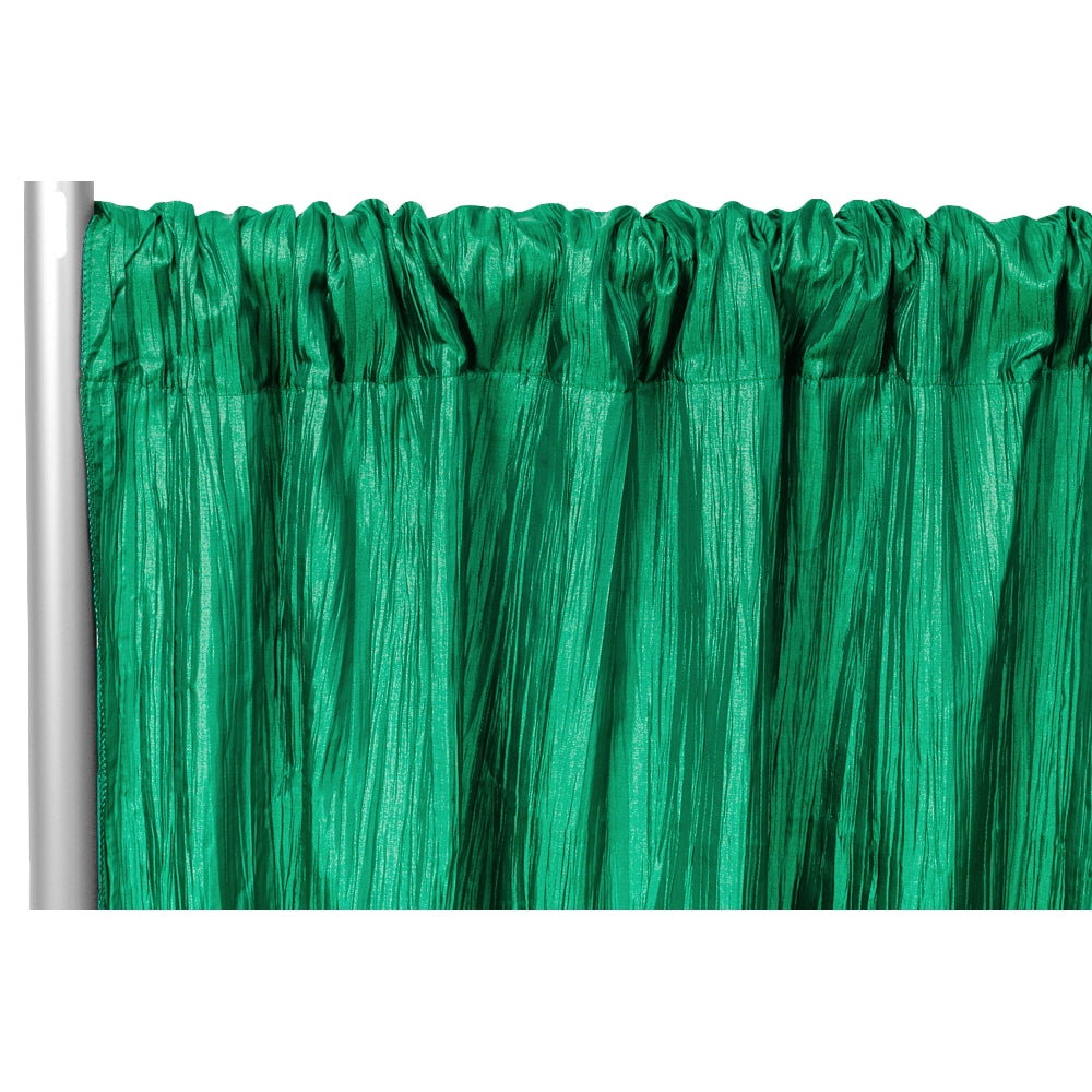 "Accordion Crinkle Taffeta 8ft H x 54"" W Drape/Backdrop Panel - Emerald Green"