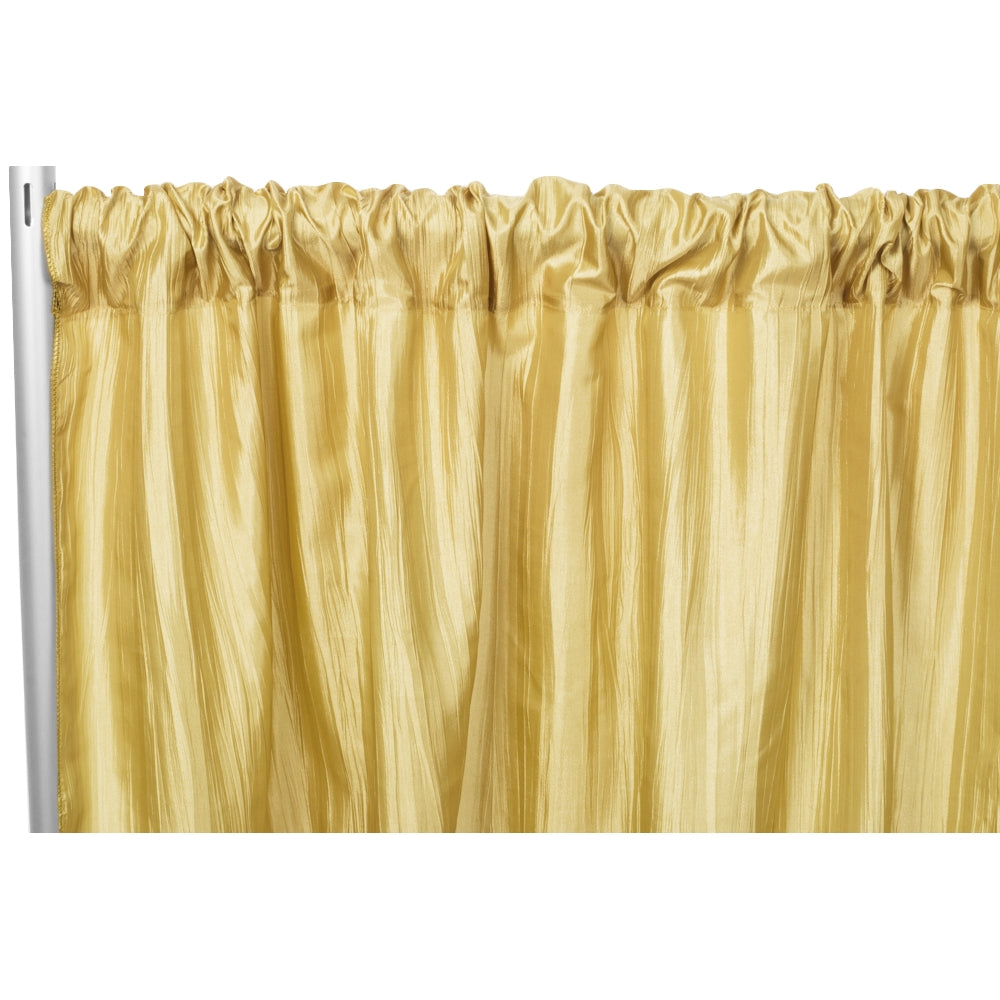 "Accordion Crinkle Taffeta 10ft H x 54"" W Drape/Backdrop Panel - Gold"