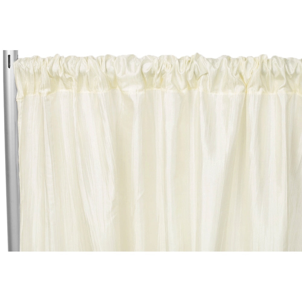 "Accordion Crinkle Taffeta 8ft H x 54"" W Drape/Backdrop Panel - Ivory"