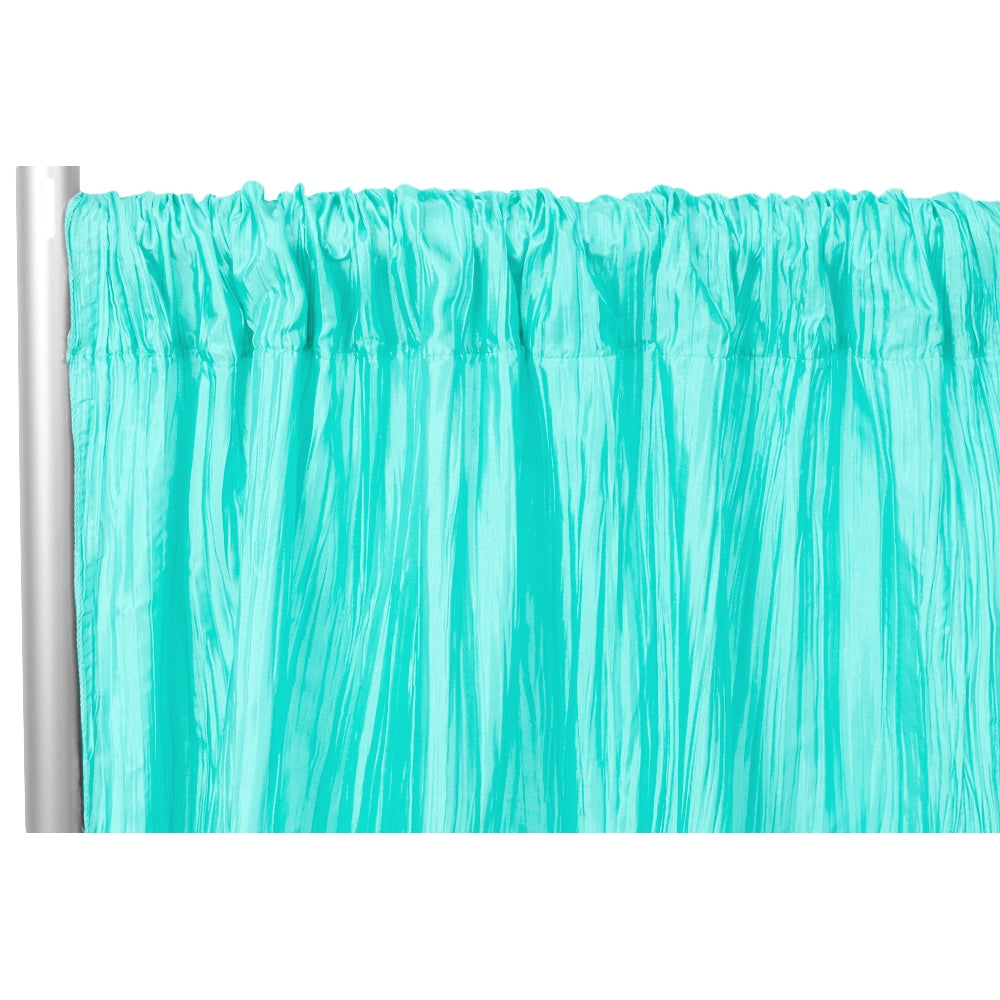 "Accordion Crinkle Taffeta 8ft H x 54"" W Drape/Backdrop Panel - Turquoise"