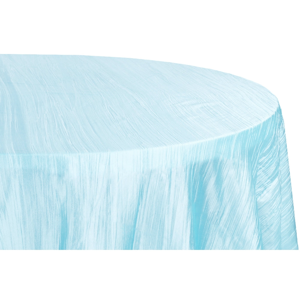 "Accordion Crinkle Taffeta 120"" Round Tablecloth - Baby Blue"