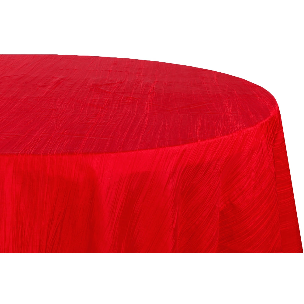 "Accordion Crinkle Taffeta 120"" Round Tablecloth - Red"