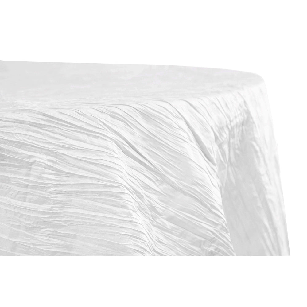 "Accordion Crinkle Taffeta 120"" Round Tablecloth - White"