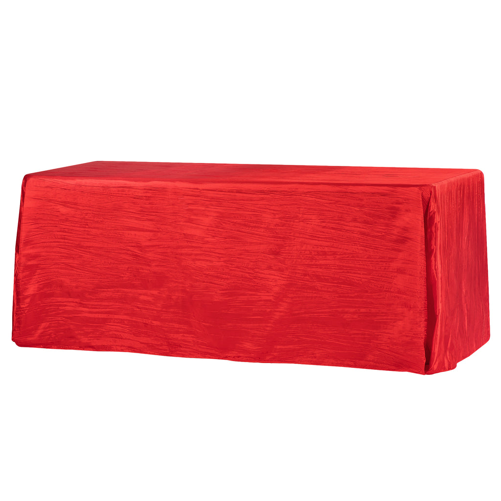 "Accordion Crinkle Taffeta 90""x156"" Rectangular Tablecloth - Red"