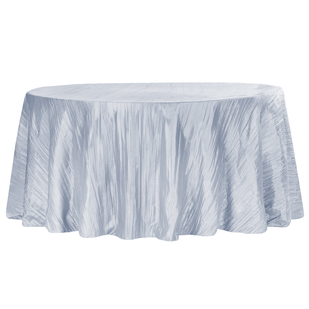"Accordion Crinkle Taffeta 120"" Round Tablecloth - Dusty Blue"