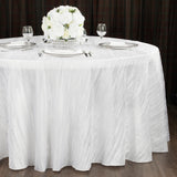 "Accordion Crinkle Taffeta 132"" Round Tablecloth - White"