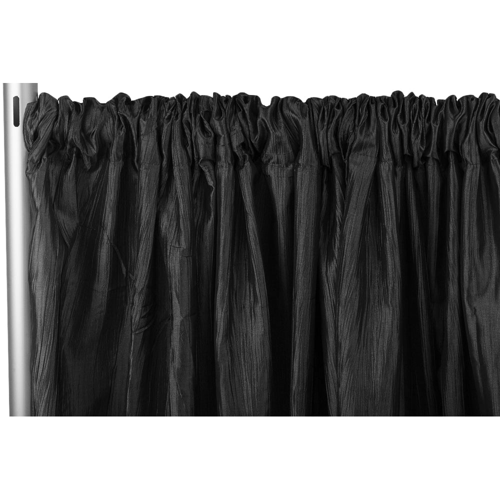 "Accordion Crinkle Taffeta 8ft H x 54"" W Drape/Backdrop Panel - Black"