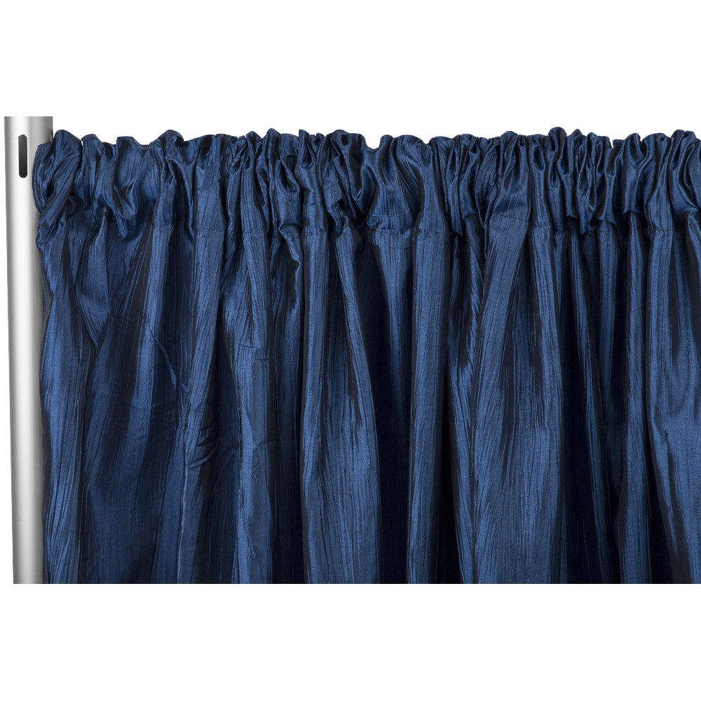 "Accordion Crinkle Taffeta 10ft H x 54"" W Drape/Backdrop Panel - Navy Blue"