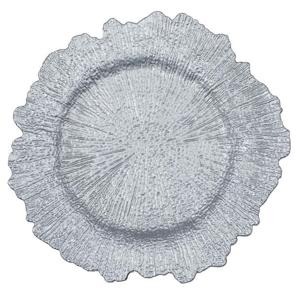 Reef Acrylic Plastic Charger Plate Silver Cv Linens