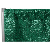 "Glitz Sequin 12ft H x 112"" W Drape/Backdrop panel - Emerald Green"