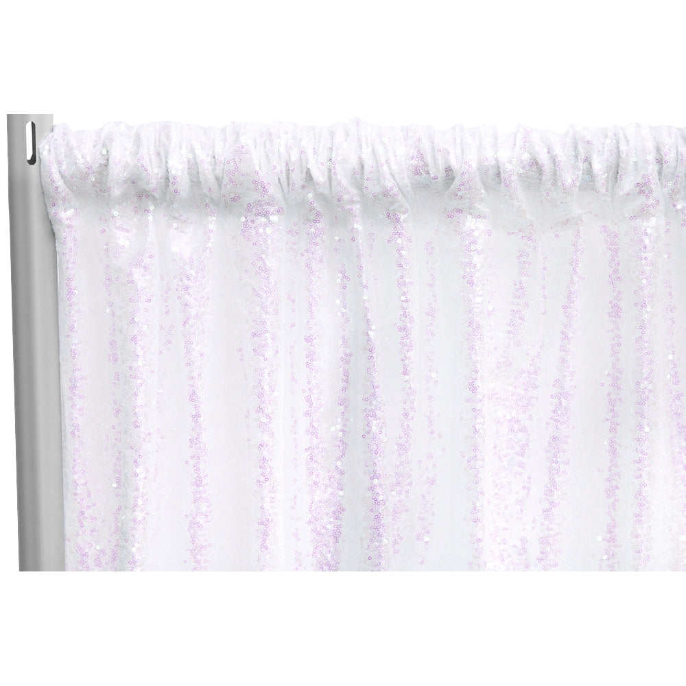 "Glitz Sequin 10ft H x 52"" W Drape/Backdrop panel - Iridescent White"