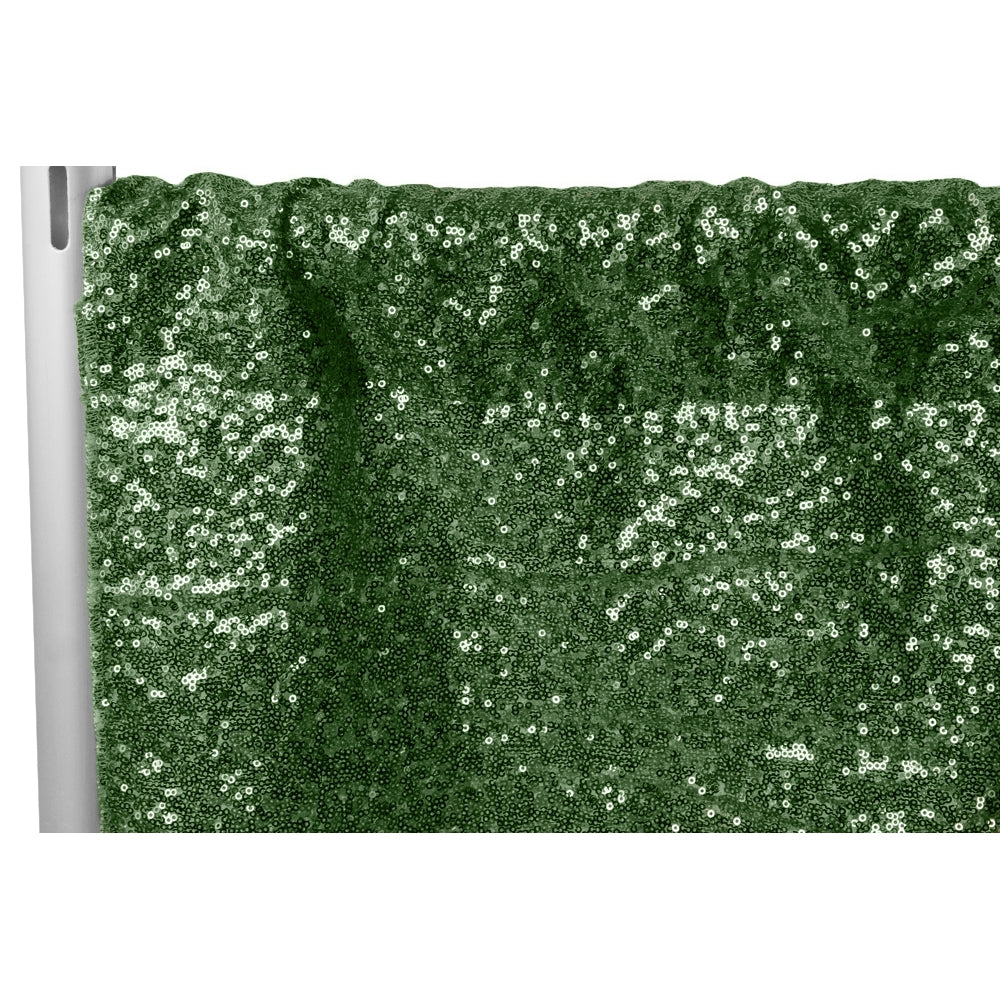 "Glitz Sequin 14ft H x 52"" W Drape/Backdrop panel - Willow Green"