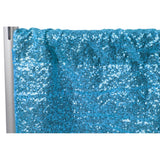 "Glitz Sequin 12ft H x 52"" W Drape/Backdrop panel - Aqua Blue"