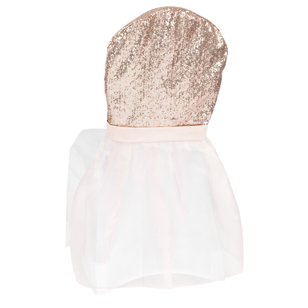 Banquet Sparkle Glitz Sequin Chair Slip Cover - Blush/Rose Gold (Clearance)