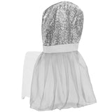 Banquet Sparkle Glitz Sequin Chair Slip Cover - Silver