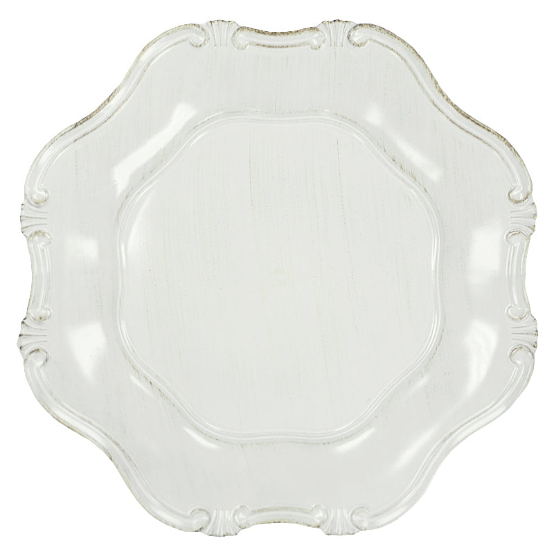 Baroque Round Charger Plate - Antique Brushed White