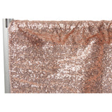 "Glitz Sequin 10ft H x 112"" W Drape/Backdrop panel - Blush/Rose Gold"