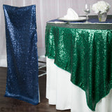 "Glitz Sequin Table Overlay Topper 90""x90"" Square - Emerald Green"