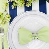 Stripe Satin Table Runner - Navy Blue & White