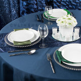 "Round Polyester 132"" Tablecloth - Navy Blue"