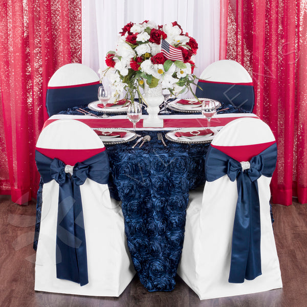Wedding Rosette Satin 120 Quot Round Tablecloth Navy Blue