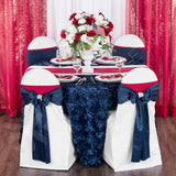 "Wedding Rosette SATIN 132"" Round Tablecloth - Navy Blue"