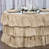 Three Tier Ruffled Burlap Table Skirt 14 ft - Natural