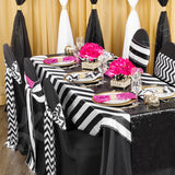 "Stripe 54""x54"" Satin Square Table Overlay - Black & White"