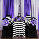 "Stripe 132"" Satin Round Tablecloth - Black & White"