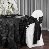 "Petal Circle Taffeta Round 120"" Tablecloth - Black"