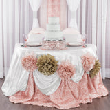 "Wedding Rosette SATIN 120"" Round Tablecloth - Blush/Rose Gold"