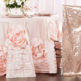 "Large Rosette Flower Tablecloth 108"" Round - Blush"