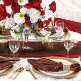 Accordion Crinkle Taffeta Table Runner - Burgundy