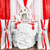 Stripe Satin Chair Sash - Red & White