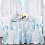 "Satin 132"" Round Tablecloth - Baby Blue"