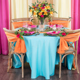 "Polyester 108"" Round Tablecloth - Aqua Blue"