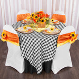 "Gingham Checkered Square 90""x90"" Polyester Overlay/Tablecloth - Black & White"