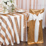 "Stripe Glitz Sequin 120"" Round Tablecloth - Gold & White"
