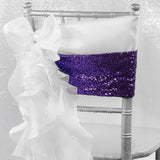 Glitz Sequin Spandex Chair Band - Purple