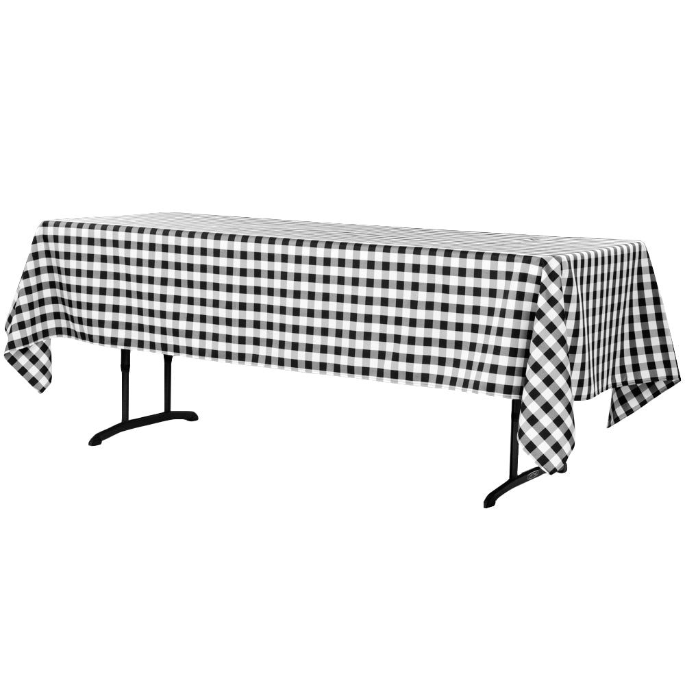 "Gingham Checkered Rectangular Polyester Tablecloth 60""x102"" - Black & White"