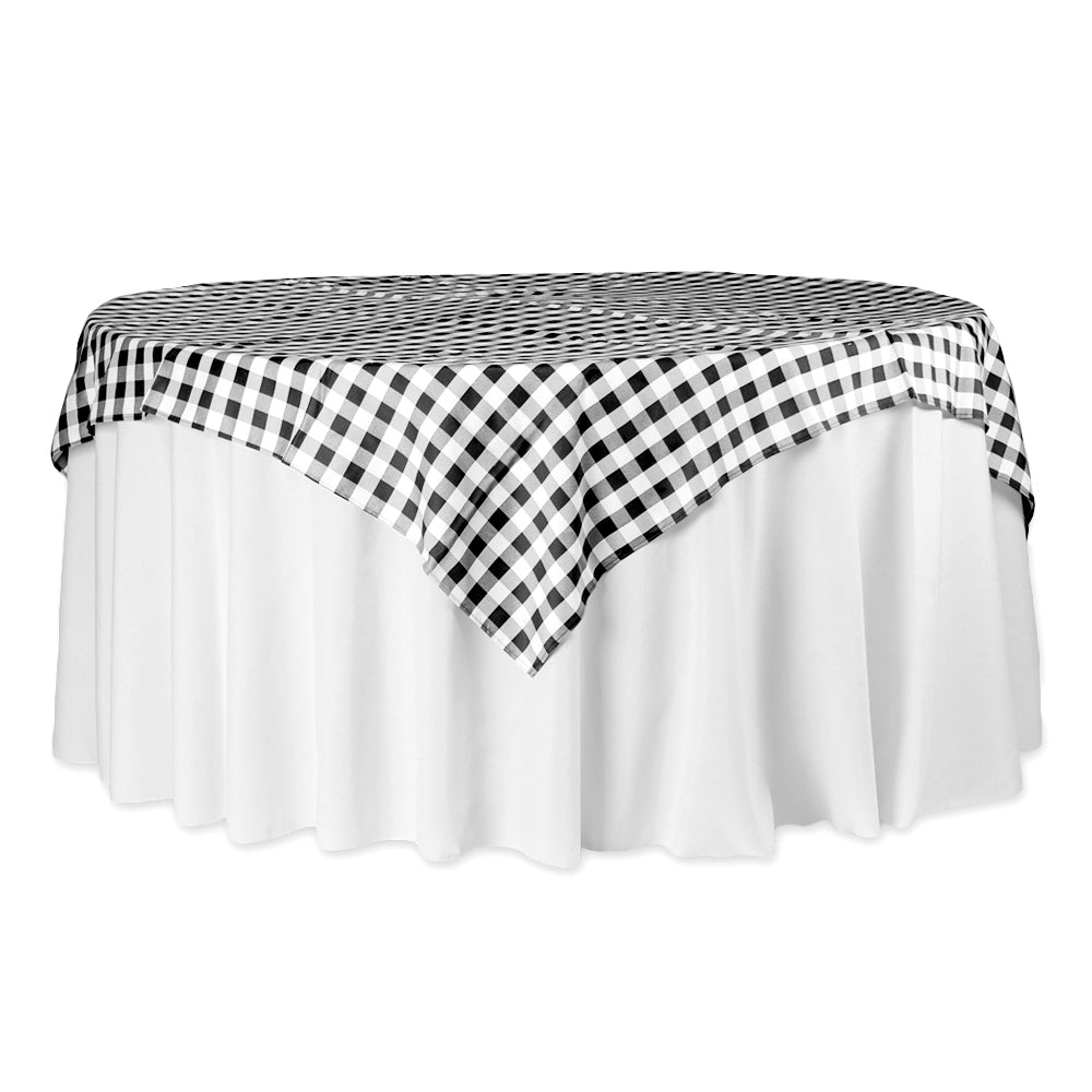 "Gingham Checkered Square 70""x70"" Polyester Overlay/Tablecloth - Black & White"
