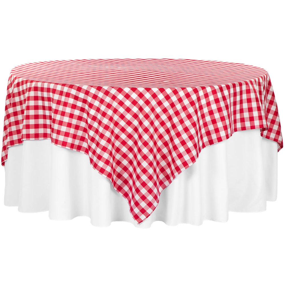 "Gingham Checkered Square 90""x90"" Polyester Overlay/Tablecloth - Red & White"