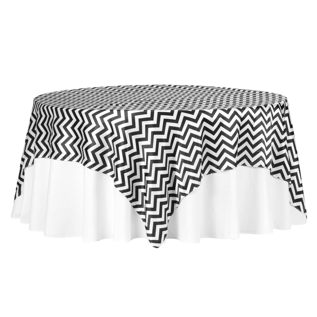 "Chevron 90""x90"" Square Satin Table Overlay - Black"